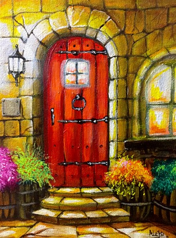 red door,wood,old,classic,painting,drawing,artwork,alejo,stone door,light,canvas,