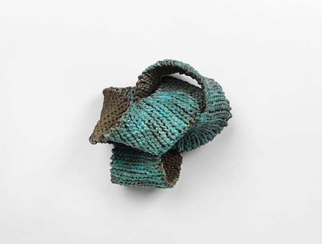 metal leaf, copper patina, fiber art, crochet, sculpture, wall relief, chicago artist, art by women, feminist art