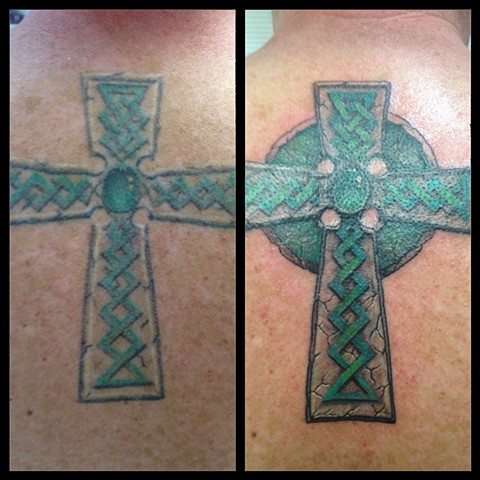 Fixed up old cross Tattoo