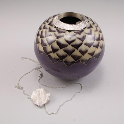 Aspen & Lotus Vessel with Aspen Leaf Pendant necklace