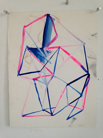 traingulated sculpture drawing in blue and pink #3