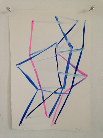 traingulated sculpture drawing in blue and pink #4