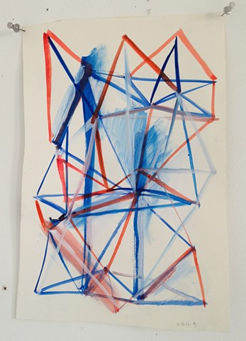 traingulated sculpture drawing in blue and red #1