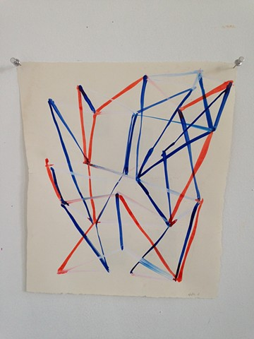 traingulated sculpture drawing in blue and red #5