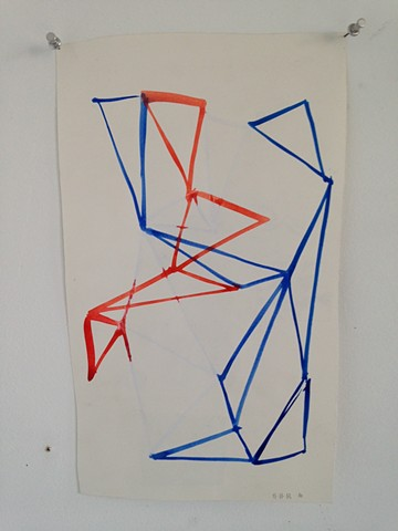 traingulated sculpture drawing in blue and red #2