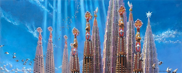 Sagrada Familia acrylic architectural painting by John Z. Wang jwthearchistudio.com