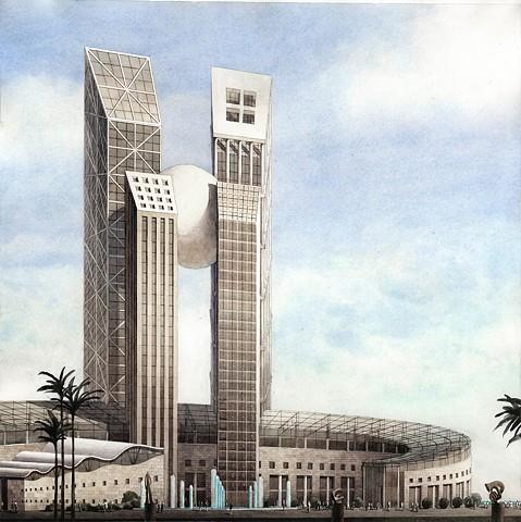 Architectural fantasy rendering by John Z. Wang jwthearchistudio.com