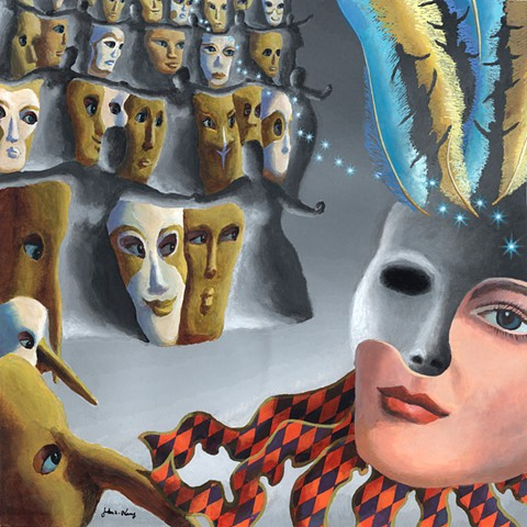Surreal acrylic MASKED BALL by John Z. Wang jwthearchistudio.com