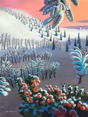 Abstract seasonal landscape acrylic by John Z. Wang jwthearchistudio.com