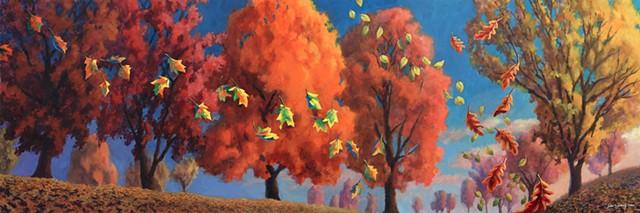 Fall landscape acrylic by John Z. Wang jwthearchistudio.com