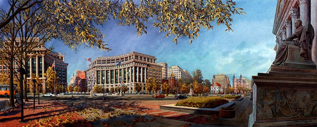 Washington DC cityscape & landmark buildings acrylic painting by John Z. Wang jwthearchistudio.com