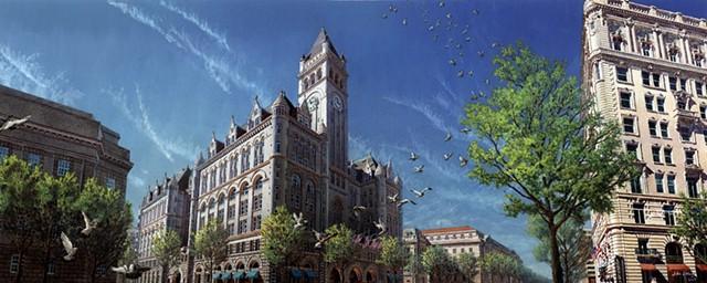 Washington DC cityscape & landmark buildings acrylic painting by John Z. Wang jwthearchistudio.com