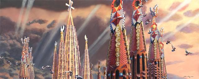 Sagrada Familia acrylic architectural painting by John Z. Wang jwthearchistudio.com