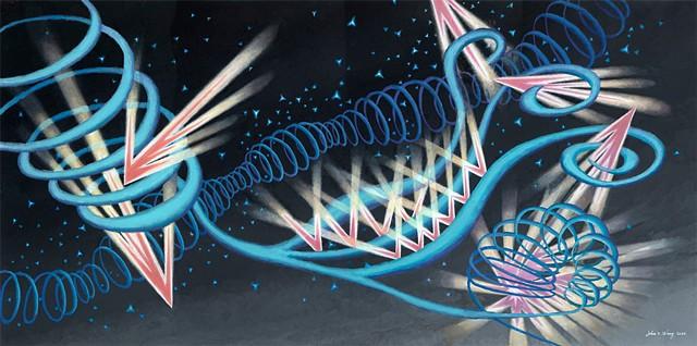 Expressive abstract acrylic by John Z. Wang jwthearchistudio.com