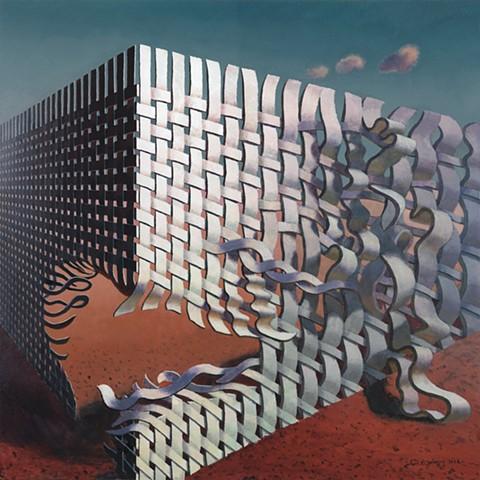 """""""Dancing with Space No.7"""" by John Z. Wang, Acrylic 18"""" x 18"""""""