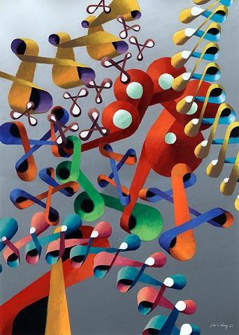 Abstract acrylic painting by John Z. Wang