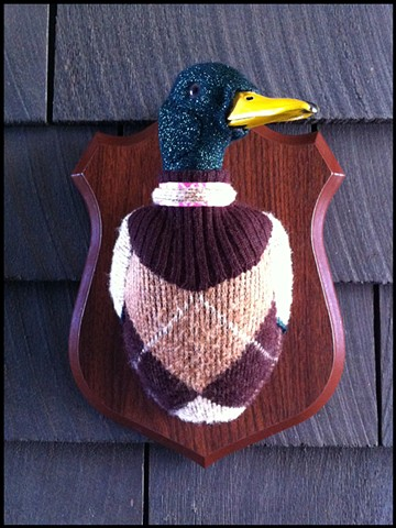 photograph of Sweaty Duck Mallard Faux Taxidermy Argyle Sweater