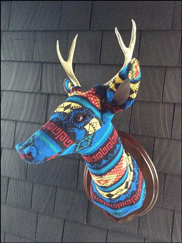 sweater faux deer stag antler taxidermy 80's primary colors tribal