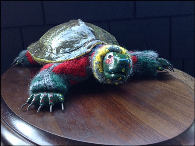 sweater faux taxidermy turtle shell ninja