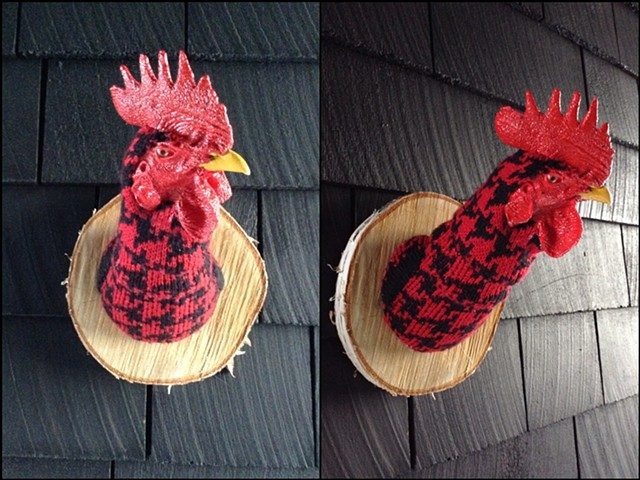 sweater faux taxidermy chicken rooster cock crowing 80's houndstooth red