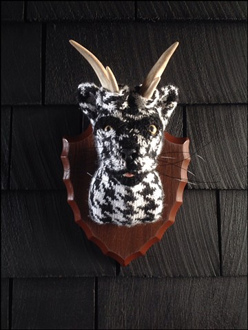 sweaty Catalope Sweater Taxidermy antlers kitty 80's houndstooth