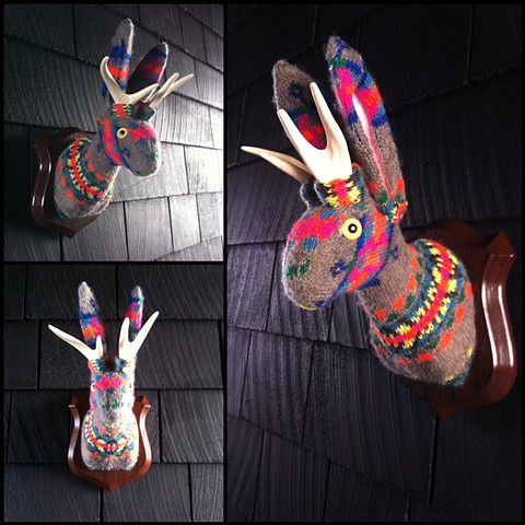 Sweaty Jackalope Faux Sweater Taxidermy 80's Cosby 90's neon