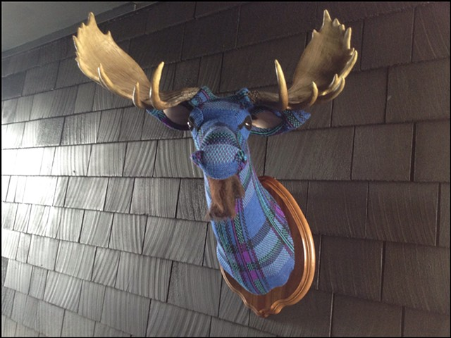 sweater faux moose taxidermy antlers beard pendelton plaid 80's punk cosby