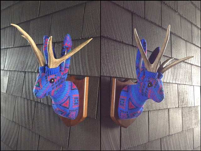 Sweater faux taxidermy jackalope 80's cosby antlers blue geometric