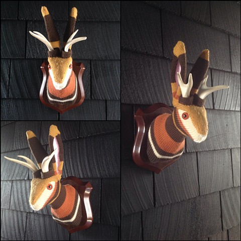 Sweaty Jackalope Faux Sweater Taxidermy gold orange 70's 80's retro