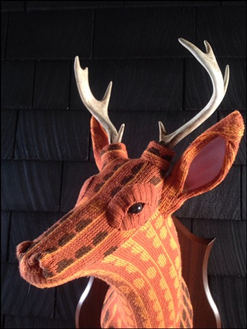 Sweater faux deer stag antler taxidermy 80's orange mod mad men