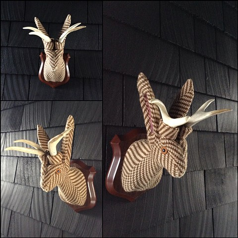 sweater faux taxidermy jackalope 80's chevron herringbone