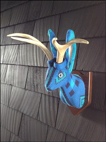 sweater faux taxidermy jackalope 80's turquoise patch  ugly nordic