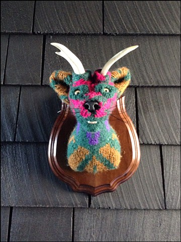 Sweaty Catalope Sweater Taxidermy antlers kitty 80's cosby