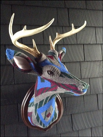 Sweater faux deer stag antler taxidermy 80's old man cosby geometric