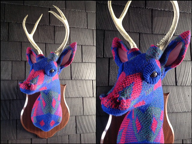 Sweaty Deer Faux Taxidermy 80's sweater bennettons cosby