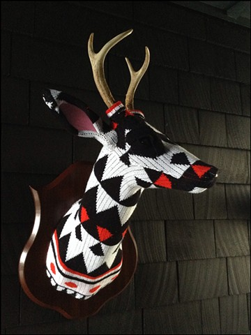 Sweater faux deer stag antler taxidermy 80's black white modern red polka dots