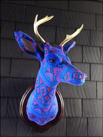 sweater faux deer stag antler taxidermy 80's blue mod geometric