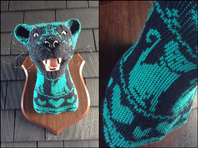 Sweaty Cat lady panther cougar jaguar Sweater Taxidermy kitty 80's