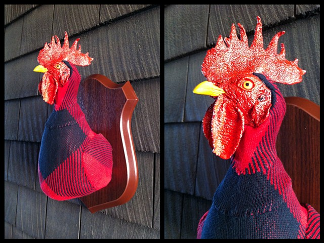 photograph of Sweaty Rooster Faux Taxidermy Argyle Sweater