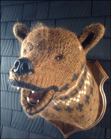 sweater Bear Faux Taxidermy old man fuzzy grizzly black