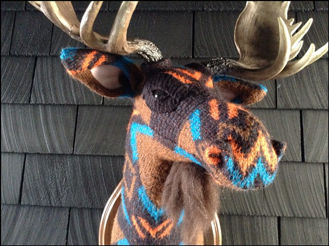 sweater faux taxidermy moose minature 80's mod geometric brown mountain man