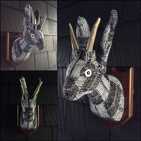 Sweater taxidermy faux Jackalope 80s dapper