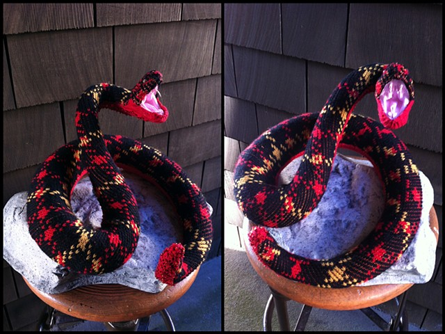 photograph of Sweaty Viper Snake Faux Taxidermy Vintage Sweater Fangs