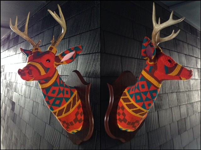 sweater faux deer stag antler taxidermy 80's orange modern turquoise geometric