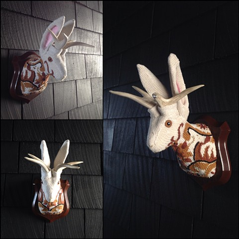 Sweaty Jackalope Faux Sweater Taxidermy 80's white embroidery victorian