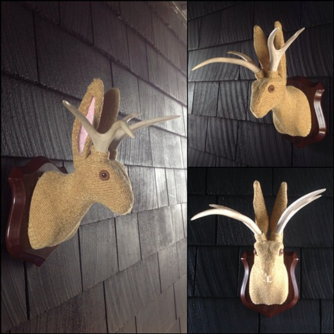 Sweaty Jackalope Faux Sweater Taxidermy gold 80's gem