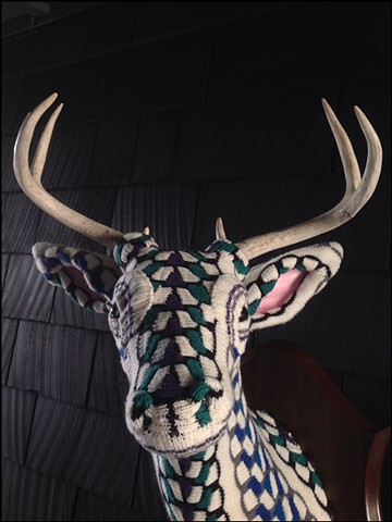 Sweater faux deer stag antler taxidermy 80's braided purple