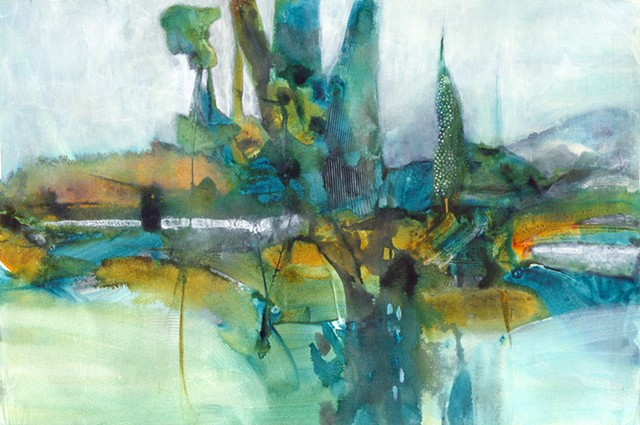 fine detailed painting, patterns,found landscapes, abstract bridge landscapes, mixed water media painting