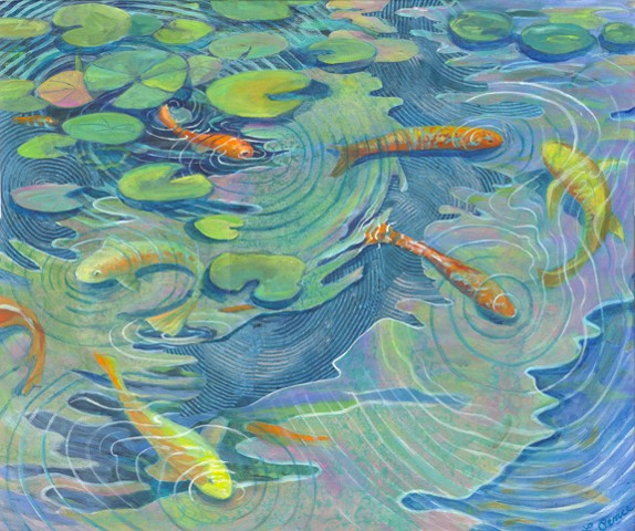 Painting of Koi in rippling water by Linda Pence