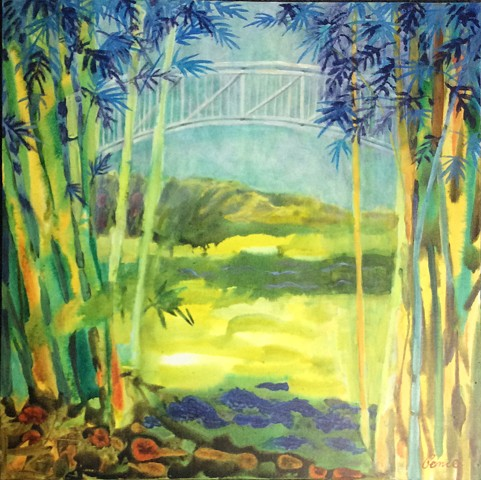 water media painting on canvas,Plein Air, Forida landscape, bamboo, bridge